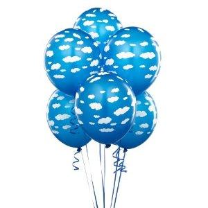cyan, white cloud latex balloons