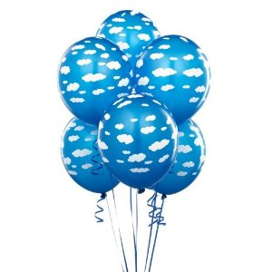 buy helium party balloons - blue balloons with clouds